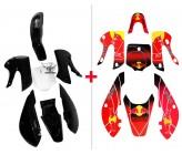 Set Plastic Kit Black + Graphics Kit Red Bull KLX