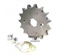 Pignon sorti de boite 420 15d axe de 17mm Dirt Bike