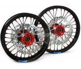 "Set of Red CNC 7116 Alloy Rims 12""/14"" (Axle 15mm)"