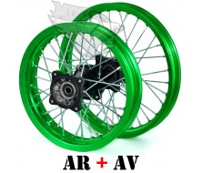 """Pack de Jante Alu Vert 12"""" AR + 14"""" AV (axe 15mm)"""