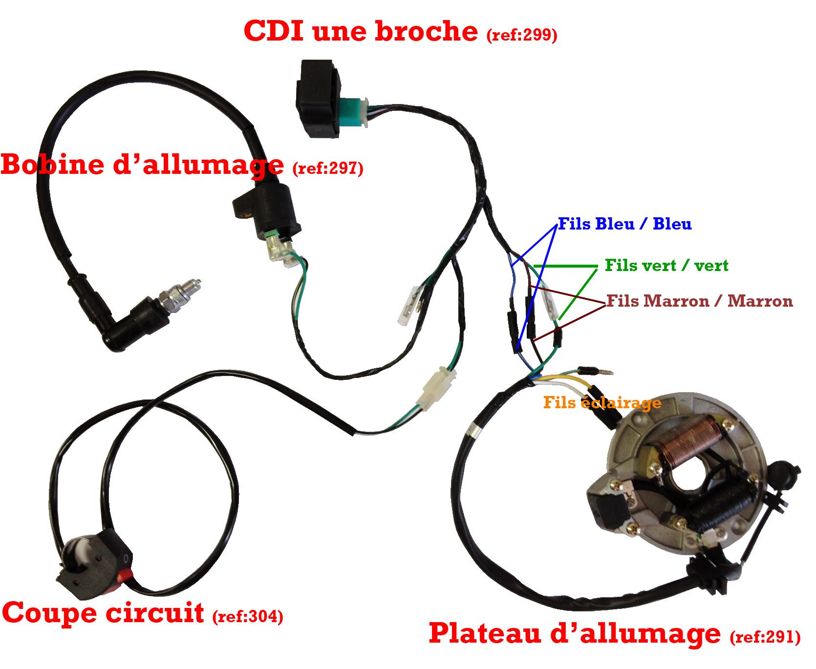 faisceau electrique standard cdi une broche pour dirt bike. Black Bedroom Furniture Sets. Home Design Ideas